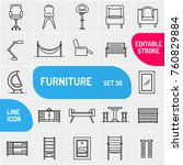 modern thin line furniture...   Shutterstock .eps vector #760829884