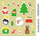 christmas characters and items... | Shutterstock .eps vector #760835344