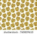 gold glitter monstera leaves on ...   Shutterstock . vector #760839610