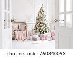 luxury living room interior... | Shutterstock . vector #760840093