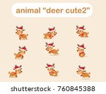 deer cute animal winter... | Shutterstock .eps vector #760845388