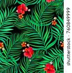 seamless hand drawn tropical... | Shutterstock .eps vector #760849999