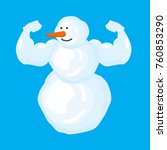 strong snowman isolated. winter ...   Shutterstock .eps vector #760853290