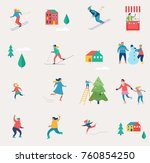 winter sport scene  christmas...   Shutterstock .eps vector #760854250