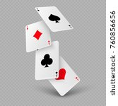 Falling Poker Playing Cards Of...
