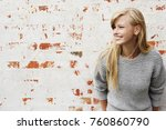 smiling babe in grey against... | Shutterstock . vector #760860790