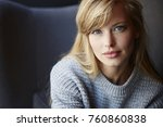 stunning blue eyed blond woman... | Shutterstock . vector #760860838