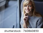 blue eyed young blond woman in... | Shutterstock . vector #760860850