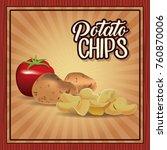 potato chips frame | Shutterstock .eps vector #760870006