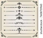 vintage set of decorative... | Shutterstock . vector #760870960