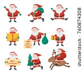 set of santa claus icons  on a... | Shutterstock . vector #760874308