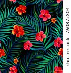 Stock vector vector tropical seamless pattern with hibiscus flowers and palm leaves 760875304