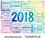 2018 travel cities word cloud... | Shutterstock .eps vector #760885918