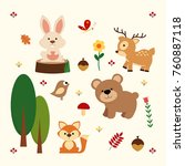 set of cute woodland animals... | Shutterstock .eps vector #760887118