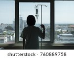 woman  patient stand at window... | Shutterstock . vector #760889758