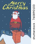 christmas card of funny drunk... | Shutterstock .eps vector #760890103