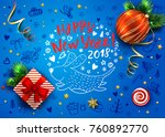 blue vector card with realistic ... | Shutterstock .eps vector #760892770