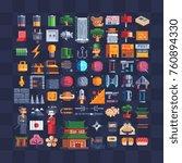 pixel art icons set.... | Shutterstock .eps vector #760894330