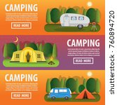 camping concept. colored three... | Shutterstock .eps vector #760894720