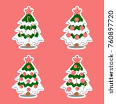 set of christmas tree decorated ...   Shutterstock .eps vector #760897720