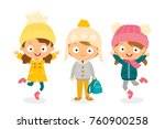 cute kids in winter clothes | Shutterstock .eps vector #760900258
