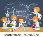 pupils in the chemistry class | Shutterstock .eps vector #760900270