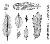 set of hand drawn feathers on... | Shutterstock . vector #760901428