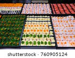 many sushi japanese food in... | Shutterstock . vector #760905124