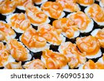 many sushi japanese food in... | Shutterstock . vector #760905130