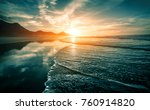 beach sunset with endless... | Shutterstock . vector #760914820