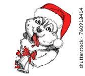 cute husky face in a red santa... | Shutterstock .eps vector #760918414