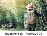 happy female tourist to travel... | Shutterstock . vector #760922308