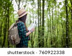 happy female tourist to travel... | Shutterstock . vector #760922338