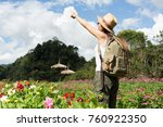 happy female tourist to travel... | Shutterstock . vector #760922350