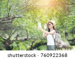 travel happy woman tourists the ... | Shutterstock . vector #760922368