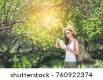 happy female tourist to travel... | Shutterstock . vector #760922374