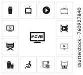 set of 13 editable movie icons. ...
