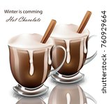 hot chocolate drink in glasses... | Shutterstock .eps vector #760929664