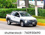 Small photo of Acapulco, Mexico - May 30, 2017: Pickup truck Ram 700 Adventure in the city street.
