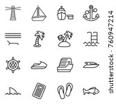 thin line icon set   lighthouse ... | Shutterstock .eps vector #760947214