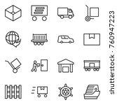 thin line icon set   box ... | Shutterstock .eps vector #760947223