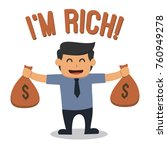 rich man holding bags of money | Shutterstock .eps vector #760949278