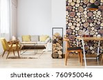 modern bright apartment with... | Shutterstock . vector #760950046