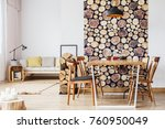 bright dining room in an... | Shutterstock . vector #760950049