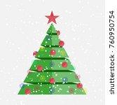 flat christmas tree. happy new...   Shutterstock .eps vector #760950754
