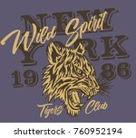 tiger tribal tattoo graphic... | Shutterstock .eps vector #760952194