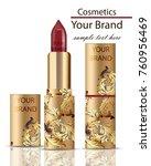 red lipstick cosmetics... | Shutterstock .eps vector #760956469