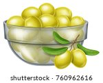 glass bowl with green olives.... | Shutterstock .eps vector #760962616