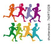 people running fitness lifestyle | Shutterstock .eps vector #760971028