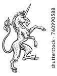 a rampant unicorn standing on...   Shutterstock .eps vector #760990588